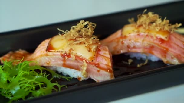 Seared Salmon Nigiri Sushi With Cheese And Mayonnaise Decoration In Japanese Cuisine Video By C Glowonconcept Stock Footage 85012376