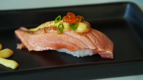 Seared Salmon Nigiri Sushi With Cheese And Mayonnaise Decoration In Japanese Cuisine Video By C Glowonconcept Stock Footage 85012708
