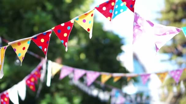 abstract colourful polka dots festival party flags in wind