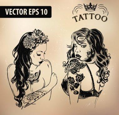 Tattoo girl old school studio skull