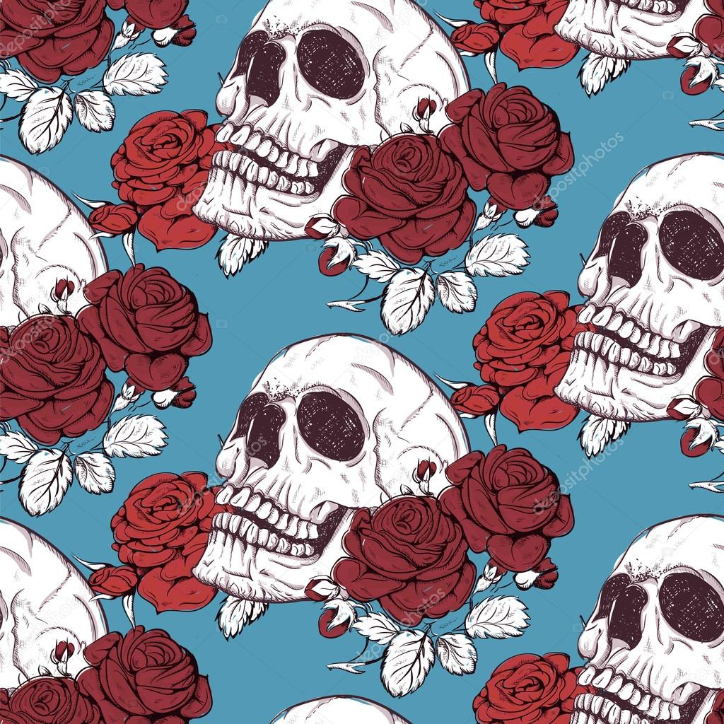 pattern skull and roses