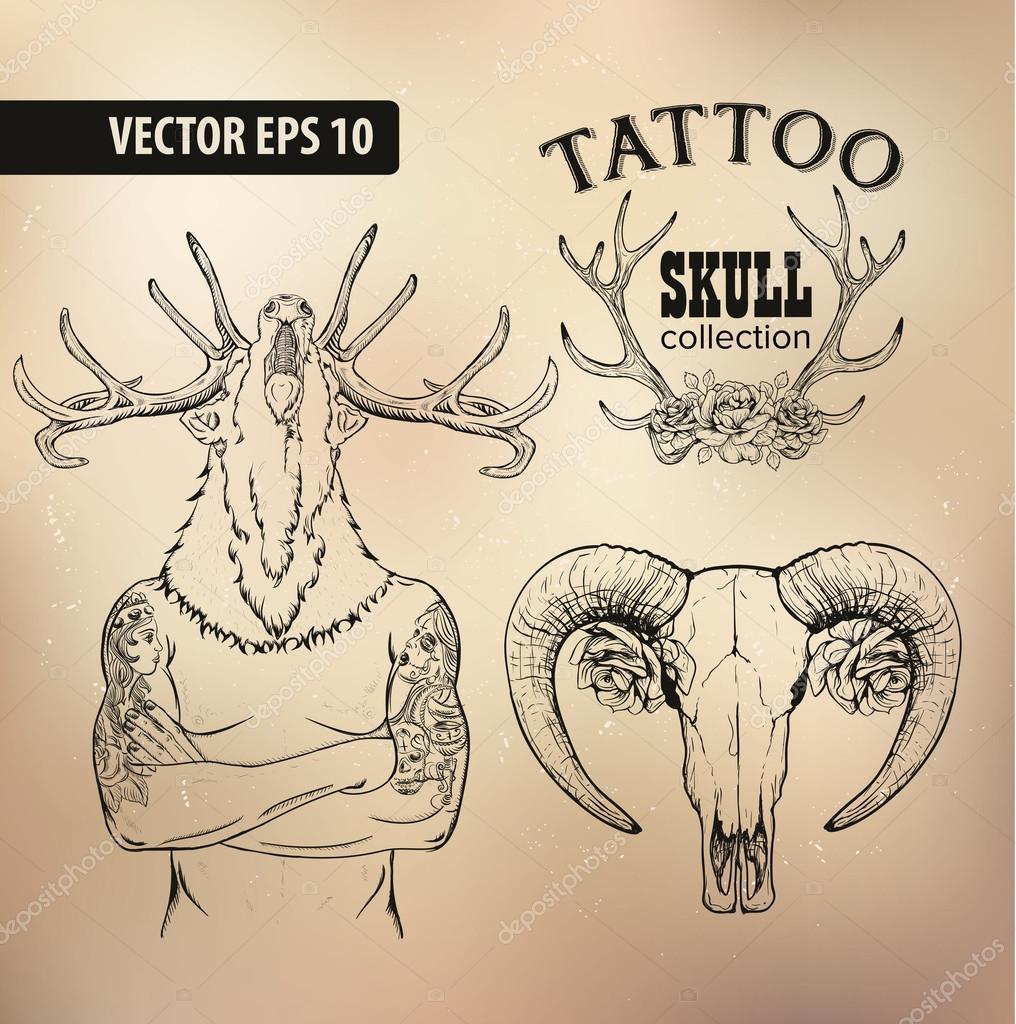 Hombre Tatuado Con Una Cabeza De Venado Archivo Imágenes