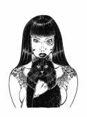 Fotografia ragazza del tatuaggio con gatto