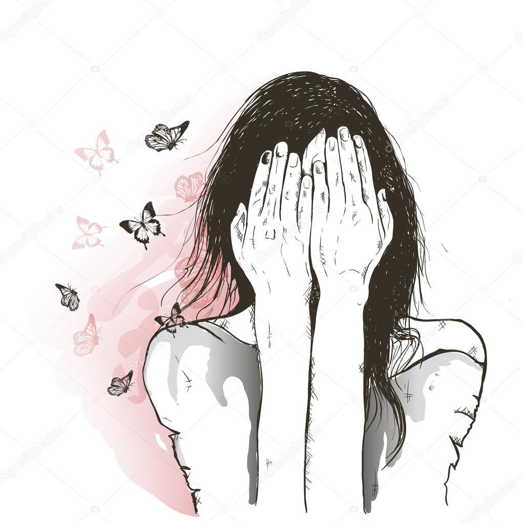Sad Girl And Butterflies Stock Vector C Lviktoria25 115479130