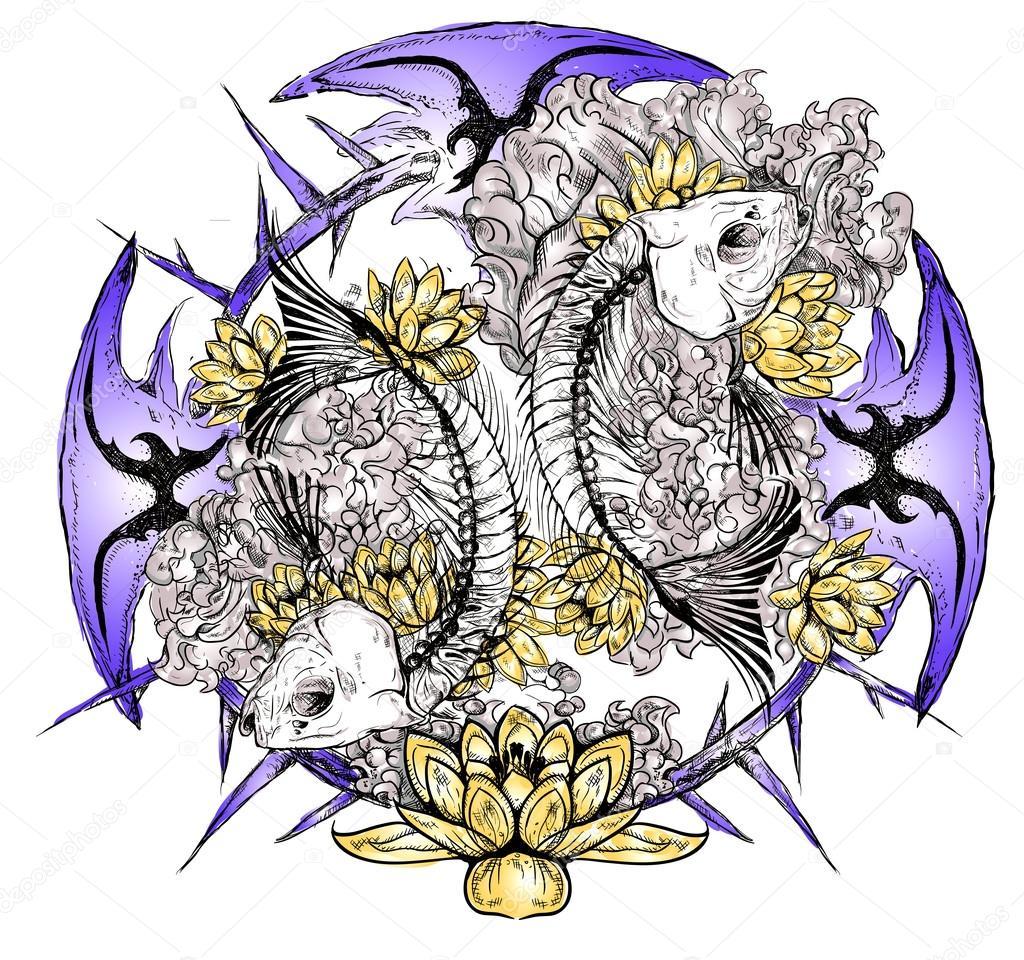tattoo skull fish