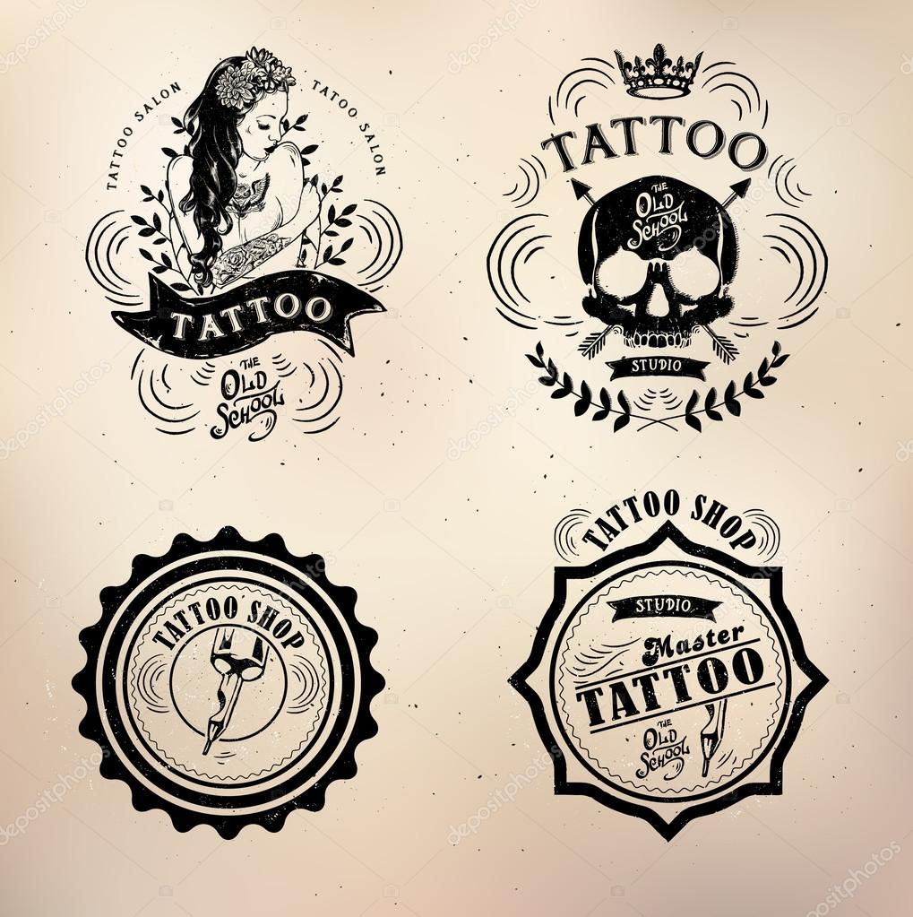 tattoo old school studio skull stock vector lviktoria25 85939324. Black Bedroom Furniture Sets. Home Design Ideas