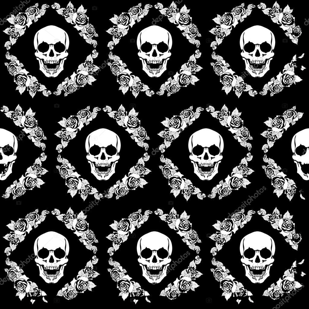 Cráneo en el marco de rosas — Archivo Imágenes Vectoriales ...