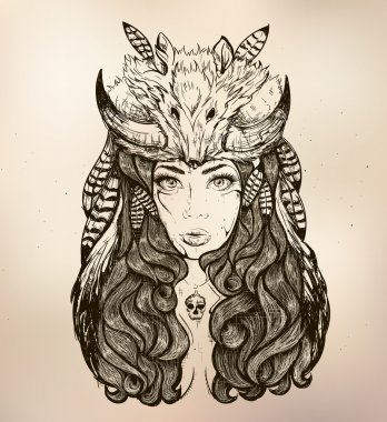 girl with fox on his head