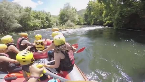 Paranesti, Drama, Greece - July 20, 2019: adventure team doing rafting on the cold waters of the Nestos River in Paranesti. Nestos river is one of the most popular among rafters in Greece.