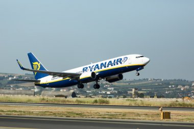A plane from the airline Ryanair takes off in Greece. Ryanair i