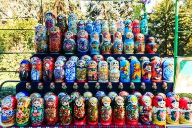Colorful Russian nesting dolls matreshka at the market. Matriosh