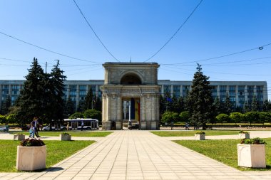 Victory Arch in National Assembly Square, Chisinau, Moldova. Th