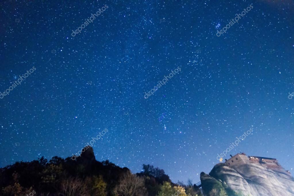 Starry sky seen from Meteora, Greece