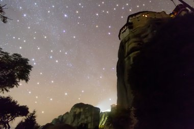 Starry sky seen from Meteora, Greece. With star filter