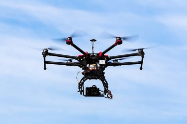 DJI S900 drone in flight with a mounted sony A7  Edition digital