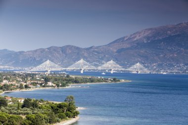 Suspension bridge crossing Corinth Gulf strait, Greece. Is the w