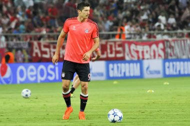 Robert Lewandowski before the beginning of the UEFA Champions Le