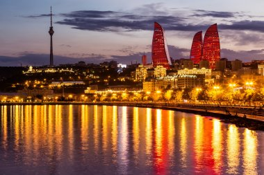 View of the waterfront and the city at night, in Baku, Azerbaija