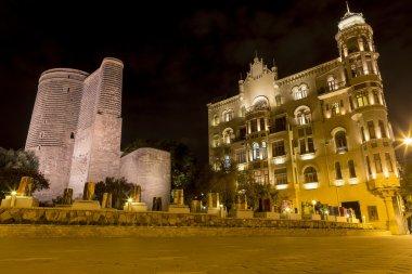 Illuminated building in the city center in Azerbaijan, Baku.