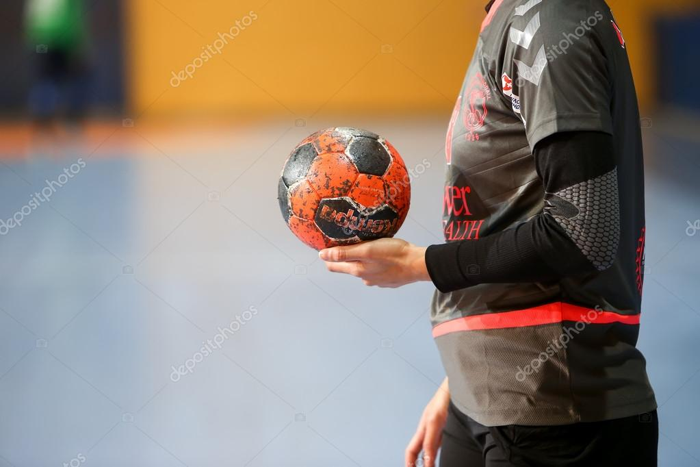 Undefined hands holding a ball prior to the Greek Women Cup Fina — Stock  Photo 2c7ba44bad