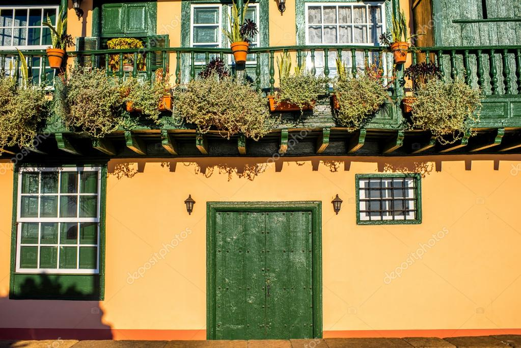 colorful balconies in santa cruz city on la palma island stock photo