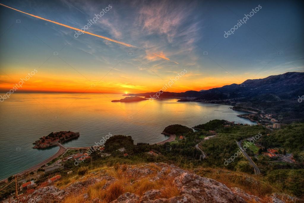 Landscape of Adriatic sea coast in Montenegro