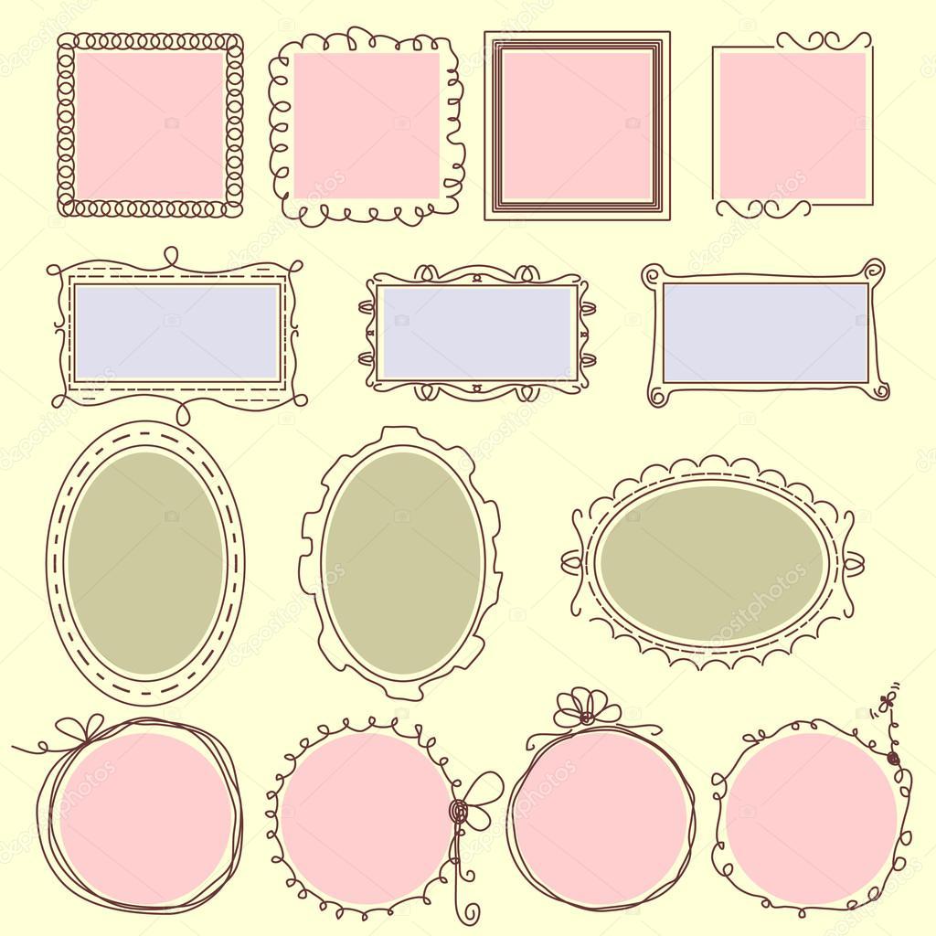 Vector dibujado a mano Marcos, líneas, colección círculo y burbuja ...