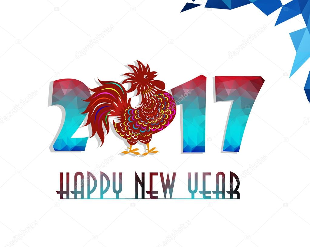 Happy New Year 2017 year of rooster with Beautiful colorful and bright polygon rooster.
