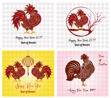 Happy New Year 2017 year of rooster collection