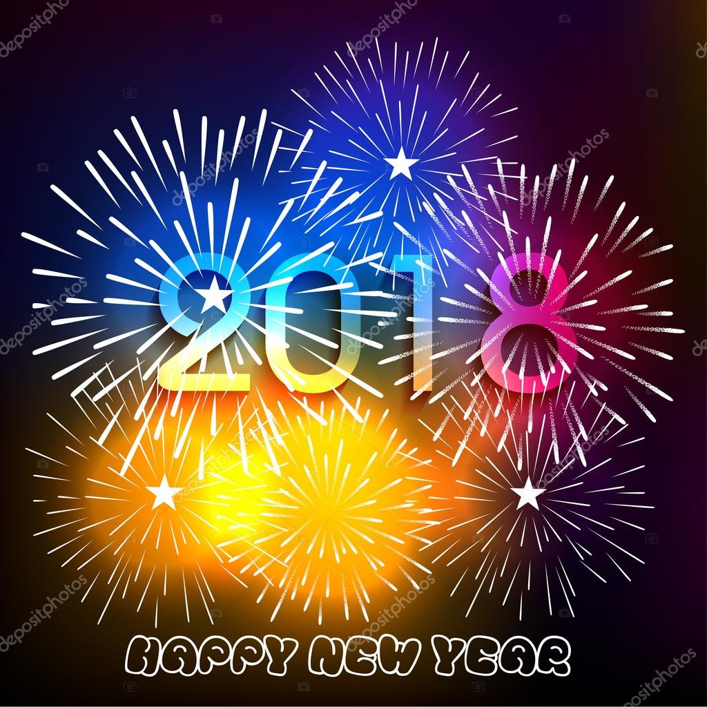 vector illustration of colorful fireworks happy new year 2018 theme stock vector