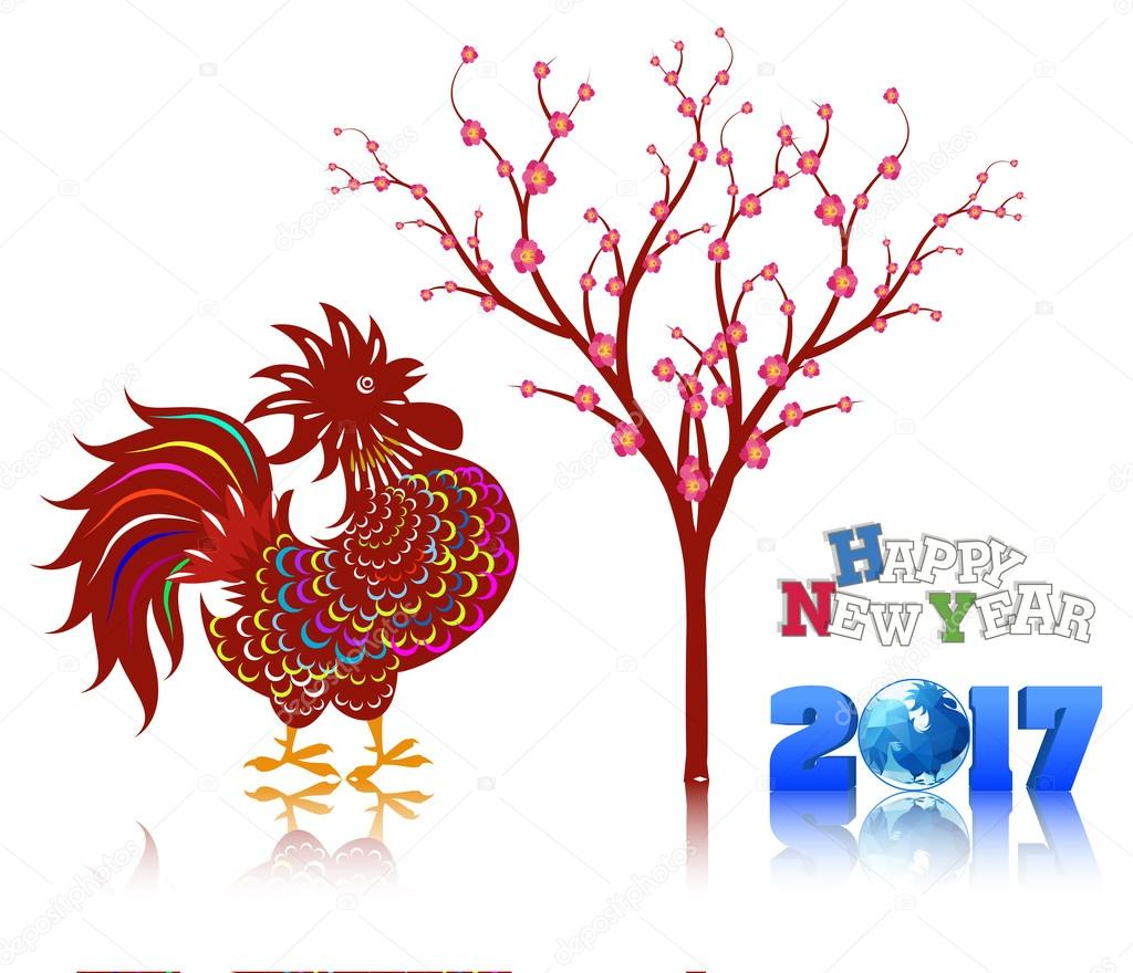 2017 happy new year greeting card celebration chinese new year of the rooster lunar