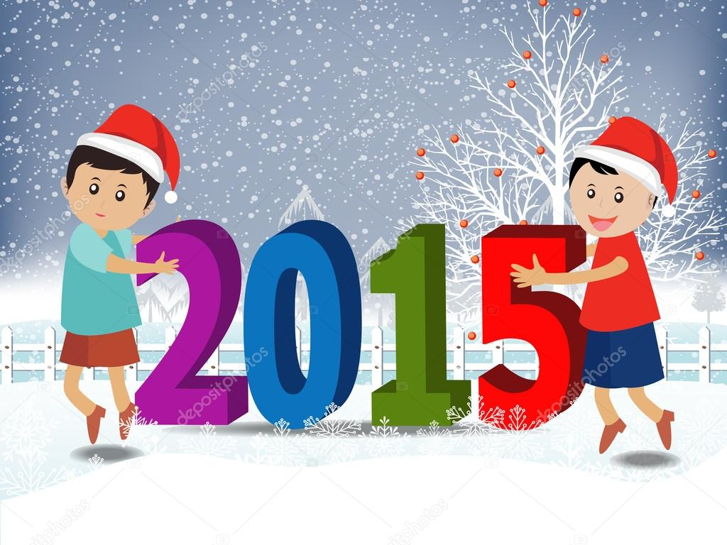 Merry christmas and Happy new year 2015 with happy children — Stock ...