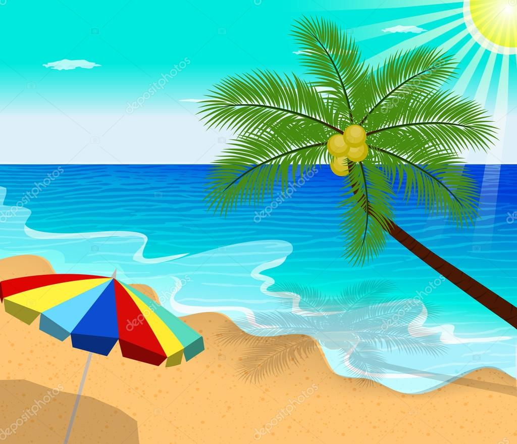 Tropical beach with Palm Trees  vector illustration