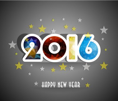 Happy New Year 2016 colorful greeting card in polygonal origami style