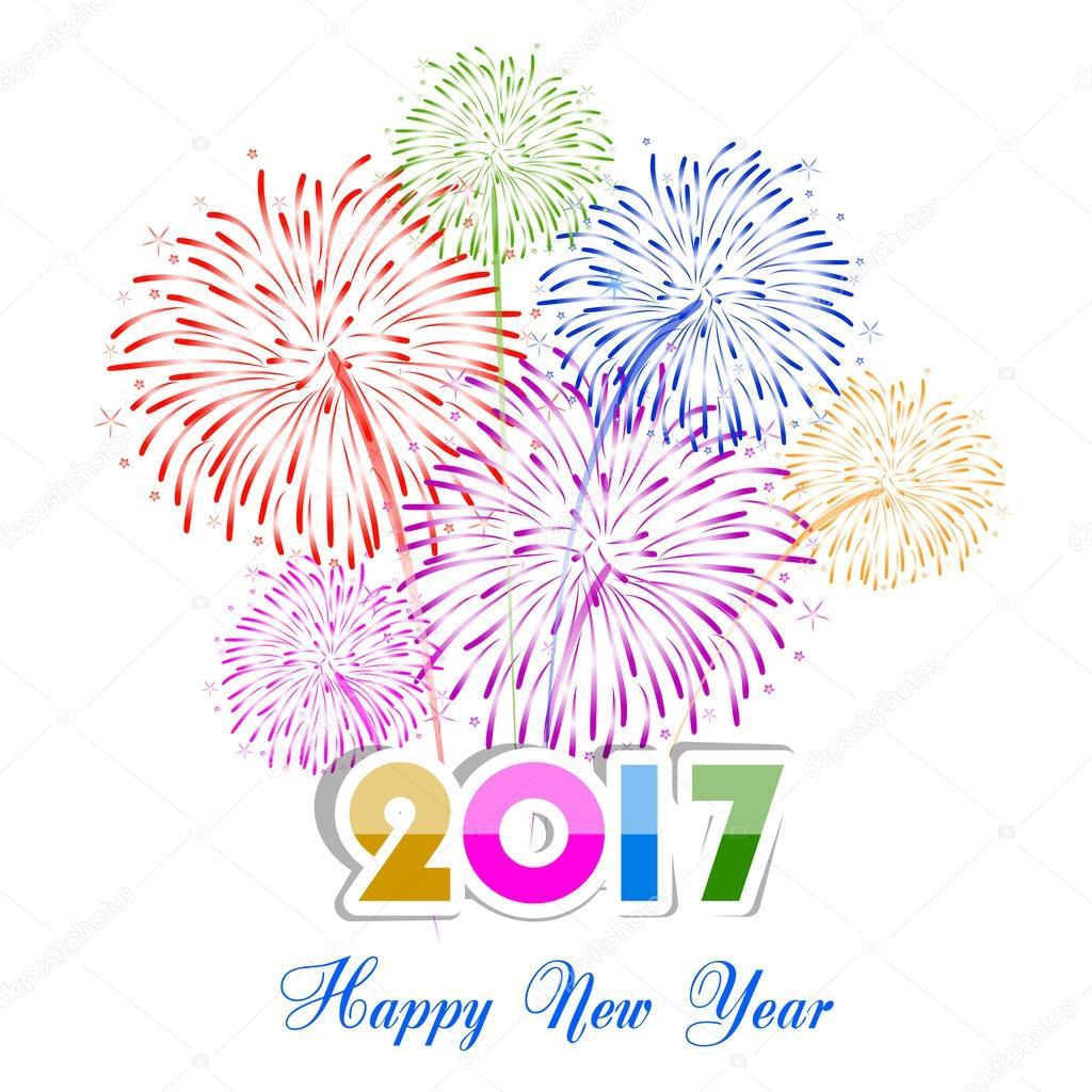 Disegno Felice Nuovo Anno Fuochi Dartificio 2017 Vacanza Sfondo