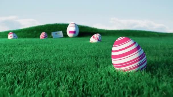 Ostereierparty animierte Einladung mit 3D-Eiern und 3D-Landschaft