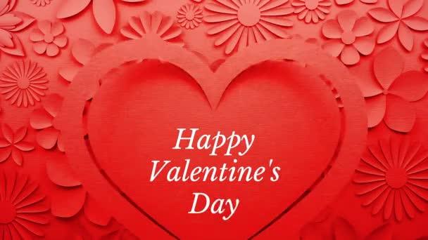 Boldog Valentin-napot animált köszöntés egy papír kivágott megjelenés