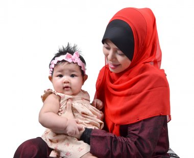 Young Asian muslim mother playing and smiling with her cute baby girl isolated on white background