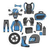 Fotografie Vektor-Set von Motorrad-Symbolen