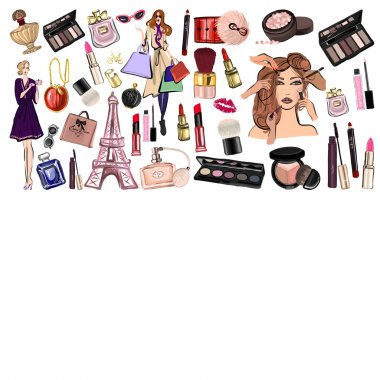 Hand drawn set with cosmetics and accessories