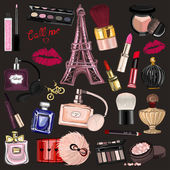 Fotografie Hand drawn images Cosmetics and Perfume