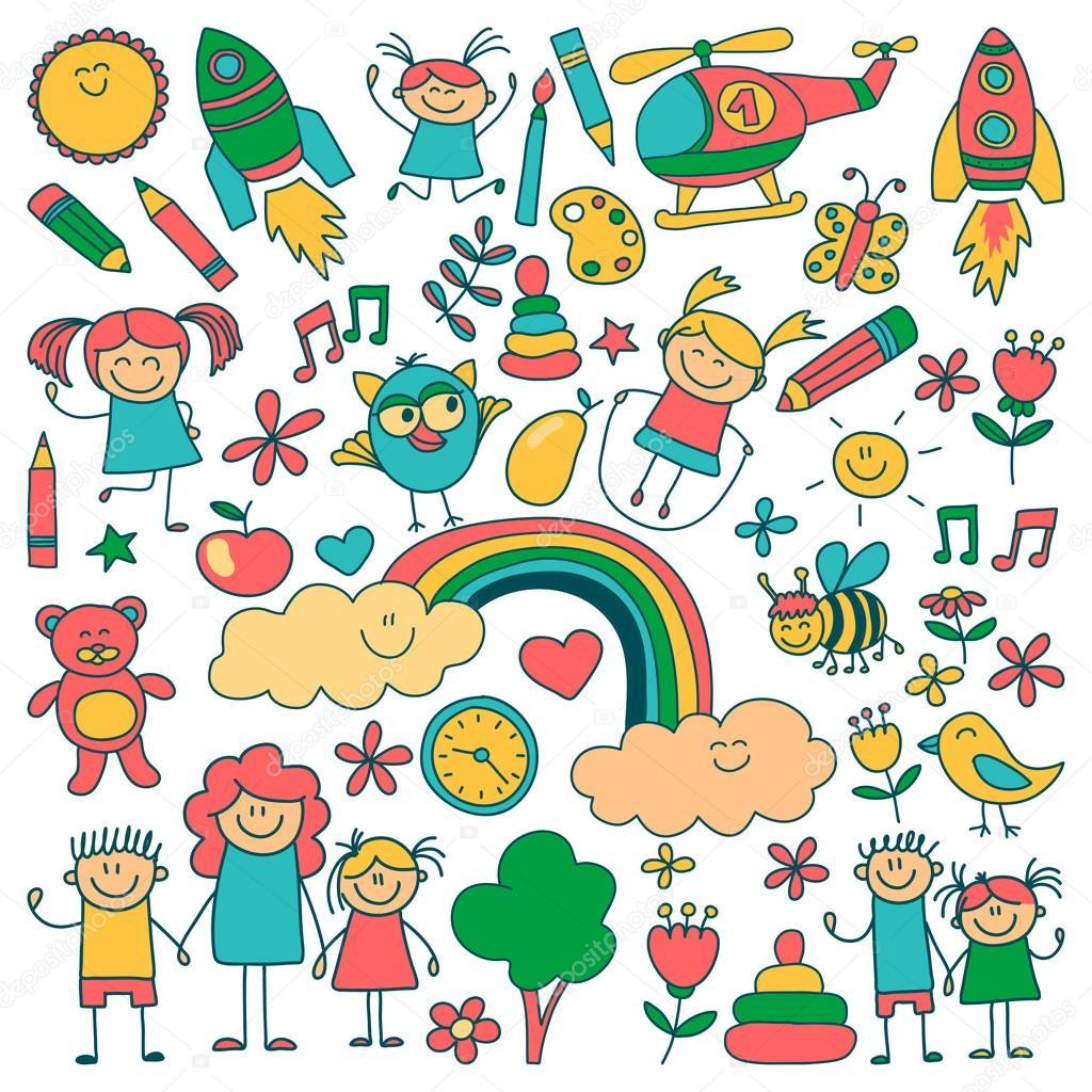 Vector conjunto de imágenes de jardín de infantes — Archivo Imágenes ...