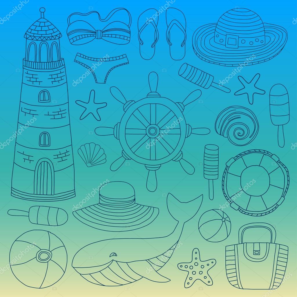 0a6da63307 Duży zestaw z doodle obrazów o plaży mody i podróży wyciągnąć rękę Zdjęcia  — Wektor od ...