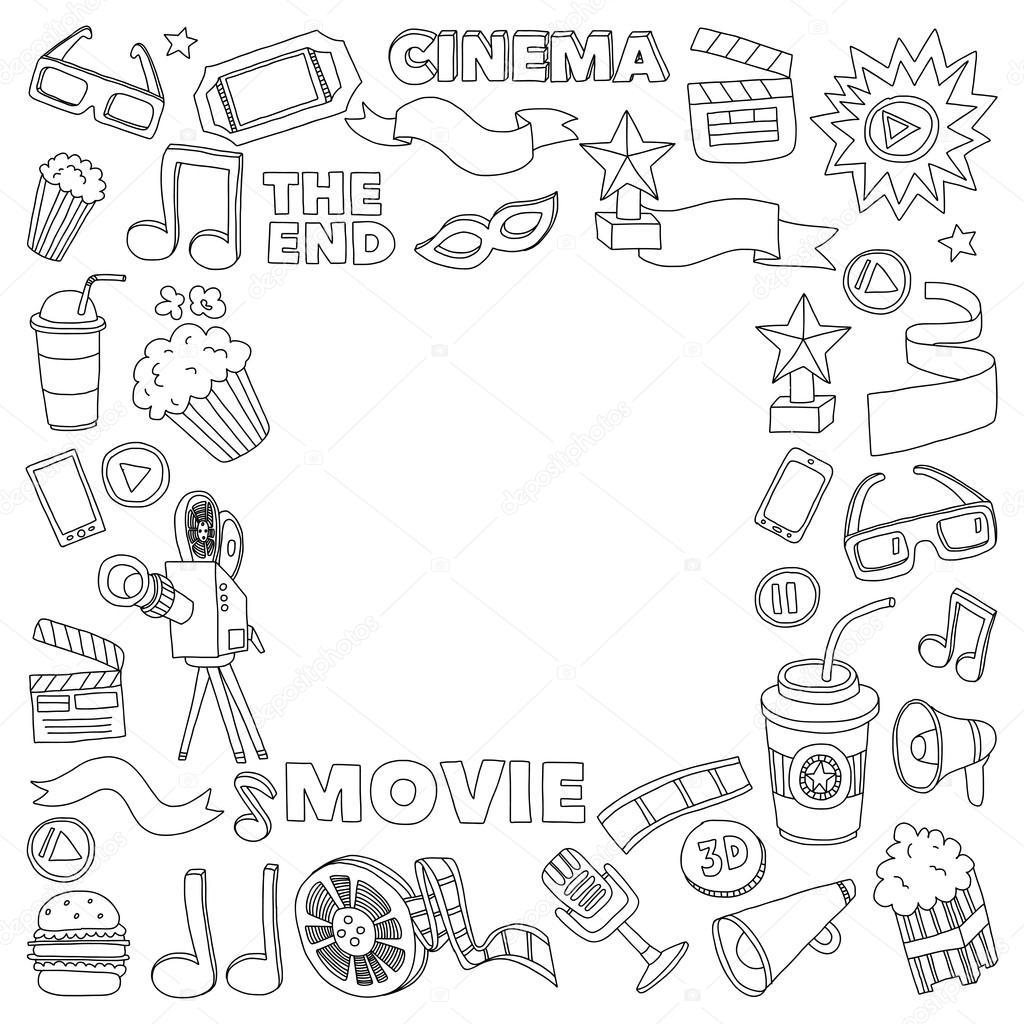 Imágenes Pantalla De Cine Para Colorear Conjunto De Iconos Del
