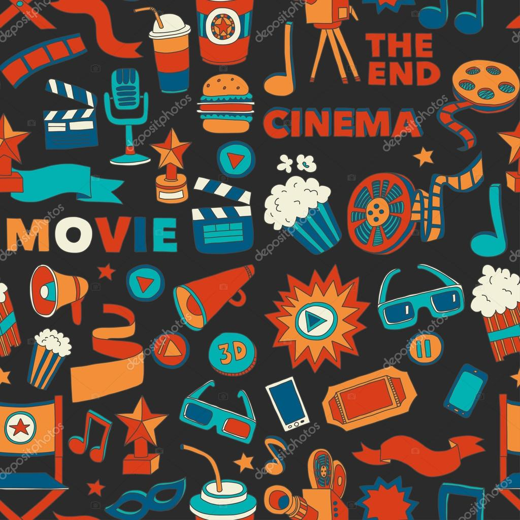 Vector pattern with cinema hand drawn icons Doodle style stock vector