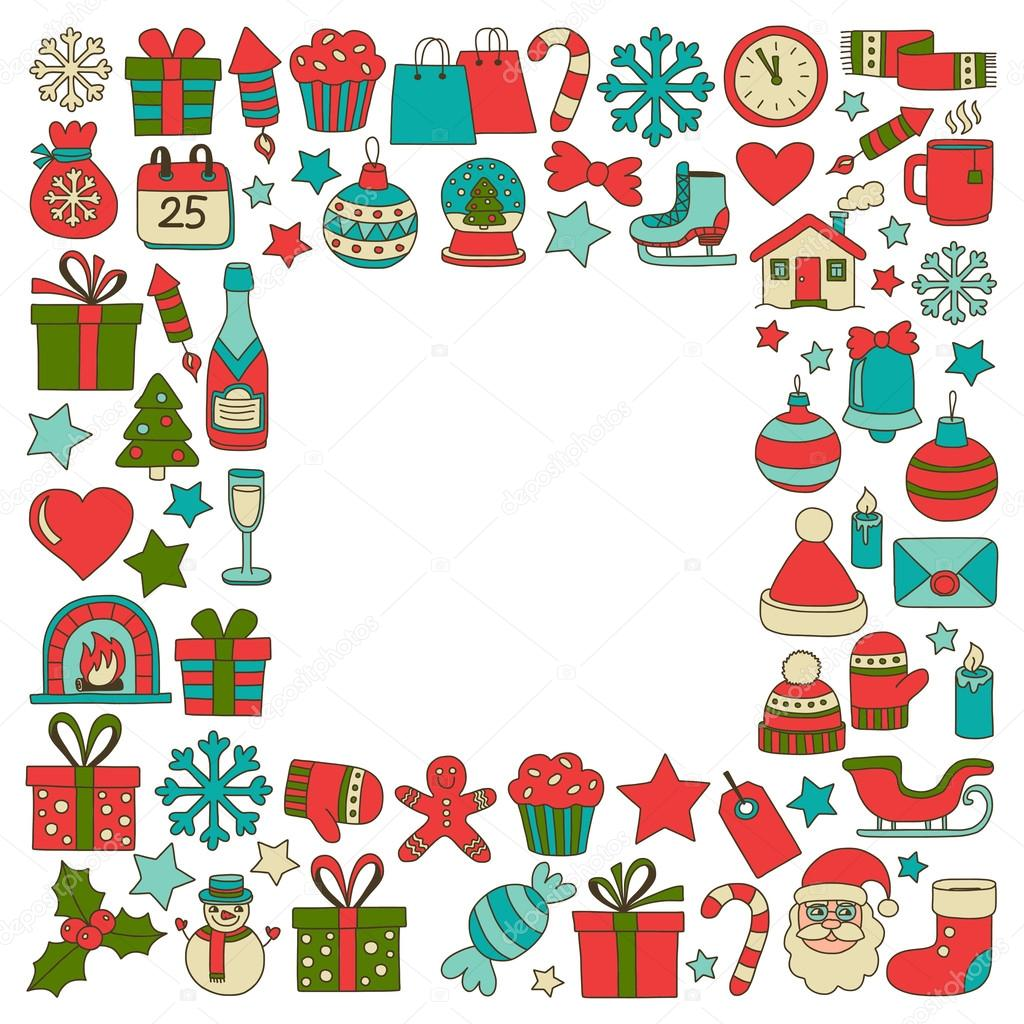 Doodle vector icons Merry christmas and happy new year — Stock ...