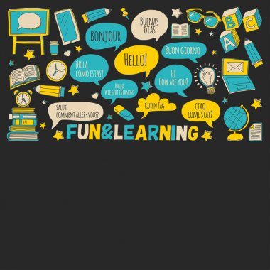 Language school doodle icons on blackboard
