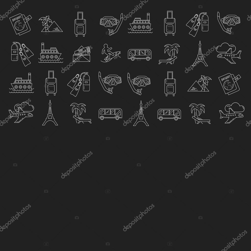 Vector set of travel icons Linear design