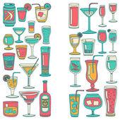Sada ikon alkohol nápoje a koktejly