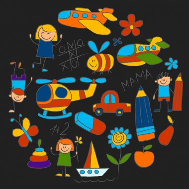 Kindergarten doodle pictures Color chalks